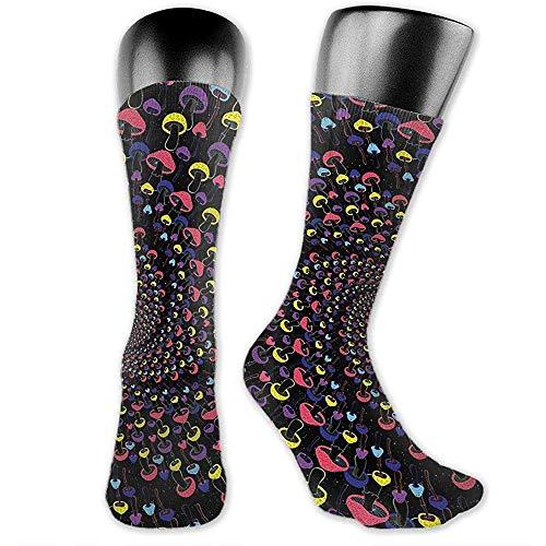 NGMADOIAN Shroom Rasta spiraal grappige paddenstoelen over-talf sokken atletic sokken kniekousen voor mannen vrouwen sport lange sokken 40cm