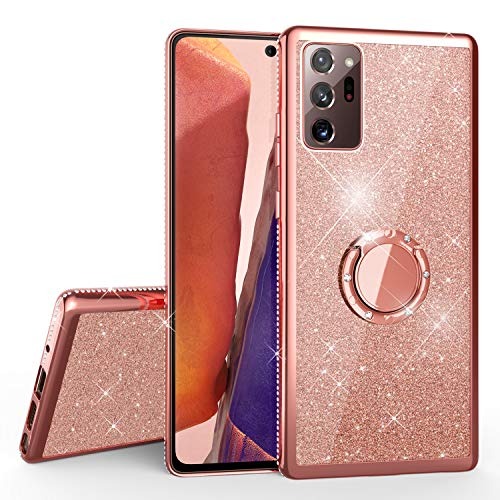 NALIA Carcasa con Anillo Compatible con Samsung Galaxy Note 20 Ultra 5G Funda, Purpurina Silicona Cubierta con 360 Grados Ring Holder, Diamante Glitter Case Resistente Kickstand, Color:Rosa Gold Oro
