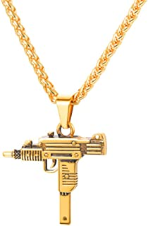Men Jewelry AK-47/M16/UZI Gun Pendant Necklace with Stainless Steel/18K Gold Plated Wheat Chain
