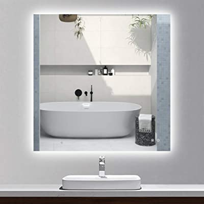 TETOTE 36 x 36 Inch LED Backlit Bathroom Vanity Mirror,Anti-Fog,Dimmable,CRI90+,Touch Button,Water Proof,Horizontal/Vertical Wall Mounted with Light