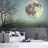 CaseFan 50cm Glow in Dark Full Moon Light Luminous Wall Stickers Vinyl Removable Art Mural Wallpaper DIY Decals(19.7x19.7 Inches) for Kid Baby Nursery,Gray