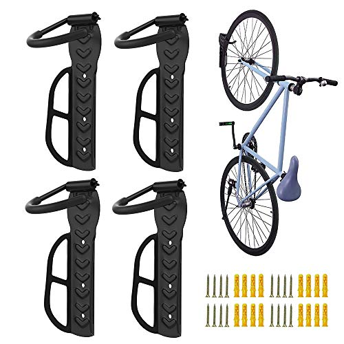 Nuovoware [4PZS] Soporte de Pared para Bicicletas, Ganchos para Bicicleta de Acero Ajustable Bici, Retención de Montaje con Tornillos Ahorro de Espacio para Colgar Bicicletas Soporta hasta 66