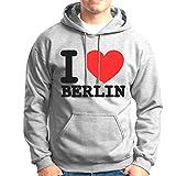 United1871 Kapuzenpullover I Love Berlin   grau   bequemer Hoodie mit Bauchtasche vorne direkt aus der Hauptstadt