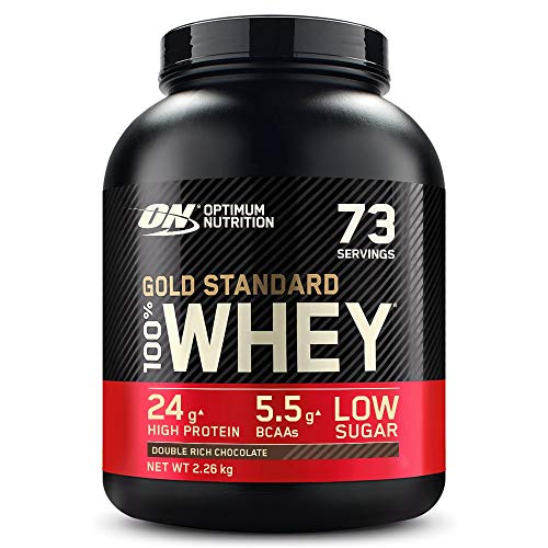 Optimum Nutrition Gold Standard Whey Muscle Building and Recovery Protein Powder With Naturally Occurring Glutamine and Amino Acids, Double Rich Chocolate, 73 Servings, 2.26 Kg, Packaging May Vary