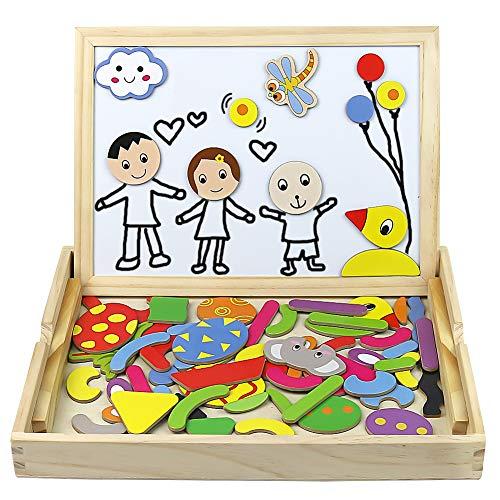 Lavagna Magnetica Puzzle Animali Giochi Montessori Legno Jigsaw Puzzle 72PCS per Bambini 3 4 5