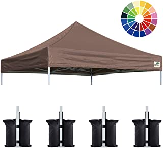 Eurmax New 10x10 Pop Up Canopy Replacement Canopy Tent Top Cover, Instant Ez Canopy Top Cover ONLY, Choose 30 Colors (Cocoa)
