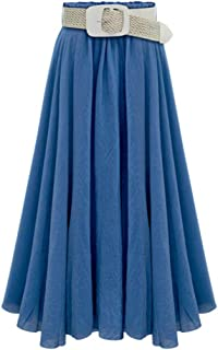Remanlly Women's Summer Long Maxi Skirt Mermaid Solid Color Skirts With Belt Daily Long Skirts High Waist Pleated Skirt