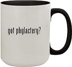 got phylactery? - 15oz Colored Inner & Handle Ceramic Coffee Mug, Black