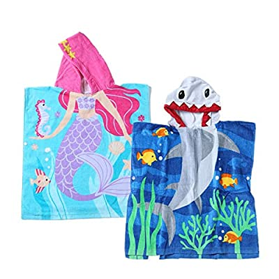 InsHere Super Absorbent & Soft Shower and Beach Toddler Hooded Towel for Baby Kids with Cute Cartoon Design (Shark & Mermaid)