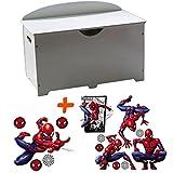 BebeGavroche - Baúl para juguetes, madera, color blanco 2 en 1, diseño de Spiderman