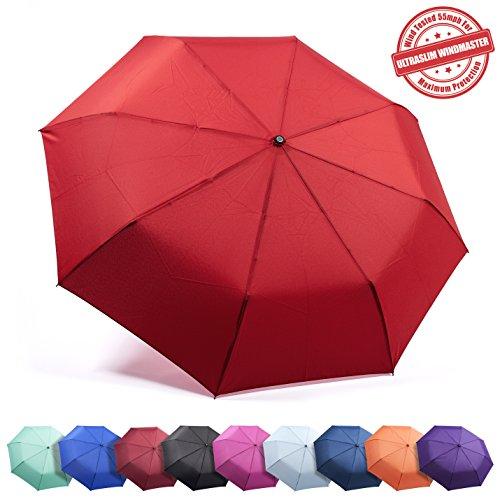 "Frostfire Travel Umbrella Proven ""Unbreakable"" Windproof Tested 55MPH Sturdy, Durability Tested 5000 Times - Compact, UltraSlim Windmaster Umbrella, Auto Open/Close"