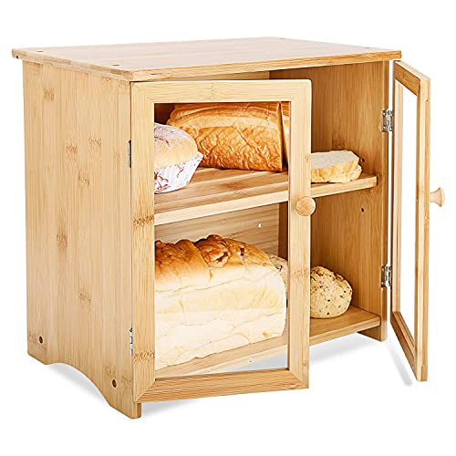 Natural Bamboo Bread Box, Two Layer Bamboo Storage Boxes with Cutting Board Lid, Adjustable Storage Space Large Bamboo Capacity Food Storage (A-Natural)