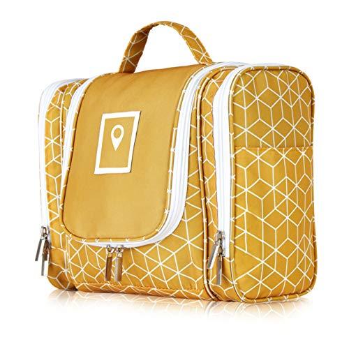 ONISM XXL Design Kulturtasche   Kulturbeutel zum aufhängen mit 360°-Haken und abnehmbaren Spiegel für Damen, Mädchen und Kinder   Kosmetiktasche, Waschbeutel aufklappbar, groß, leicht für Koffer