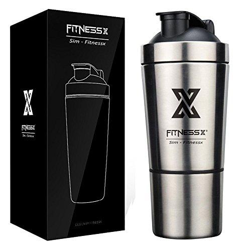 FITNESSX Fitness Sport Shaker in Acciaio Inox proteine Bottiglia 600ml+200ml Cassetta di stoccaggio