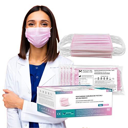 50 Mascarillas Quirúrgicas Rosa Desechables , Certificado CE Tipo IIR, Alta Eficiencia de Filtración BFE≥98, Mascarillas Homologadas Faciales de 3 Capas con Elásticos - [50 Pzas]