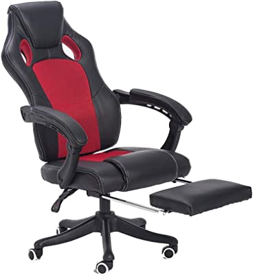 Bseack Swivel Chair Video Game Chair, Ergonomics Adjustable with Footrest Racing Chair Household High Back Reclining Gaming Chair for Student Dormitory Network Club (Color : Red Black)