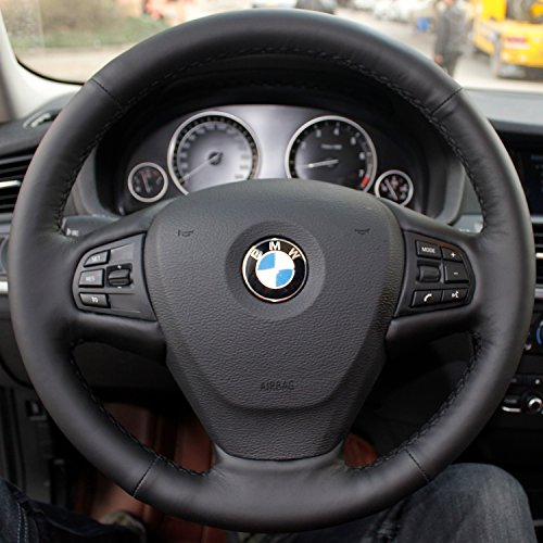 16sixteen Luxury Hand Sewing Anti-Slip Solid Color Nappa Genuine Leather Stitch On Car Steering Wheel Cover for BMW X3, Black Cover, Black Thread