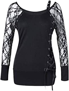 Women Sexy Lace Blouse Tops Lady Evening Party Lace Up Long Sleeve Shirt Clothes
