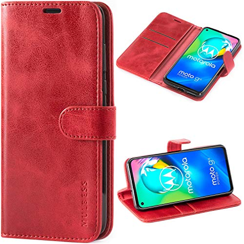Mulbess Handyhülle für Motorola Moto G8 Power Hülle Leder, Motorola Moto G8 Power Handy Hüllen, Vintage Flip Handytasche Schutzhülle für Motorola Moto G8 Power Hülle, Wein Rot