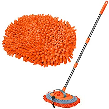 WillingHeart 47.5  Car Wash Brush Mop Cleaning Tool with Long Handle Kit for Washing Detailing Cars Truck SUV RV Trailer Boat 2 in 1 Chenille Microfiber Sponge Duster Not Hurt Paint Scratch Free