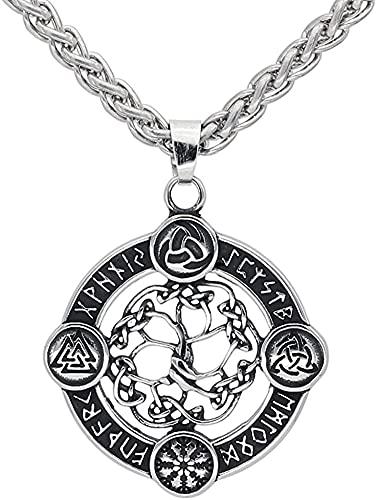 AMOZ Collares, Joyería, Utilizado para Acero Inoxidable Vikingo Brújula Nórdica Vegvisir Odin Amuleto Colgante Collar con Bolsa de Regalo