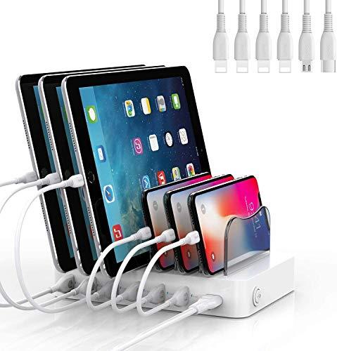 SooPii Organizador de Estación de Carga USB de 6 Puertos para Múltiples Dispositivos, 6 Cables de Carga Incluidos, para Teléfonos, Tabletas y Otros Dispositivos Electrónicos