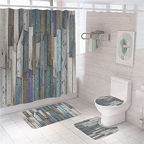 MOUPSDT 4-teiliges Duschvorhang-Set Graubraune Blaue Holztür mit rutschfesten Teppichen, Toilettendeckel & Badematte, mit 12 Haken,wasserdichter Stoff-Duschvorhang 150x180 cm