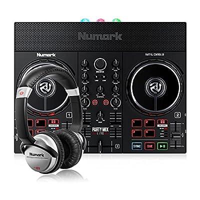 Numark Party Mix Live + HF 125 - DJ Controller/Adults & Kids DJ Set with DJ Lights, DJ Speakers & DJ Mixer for Serato DJ Lite and Ultra-Portable Professional DJ Headphones