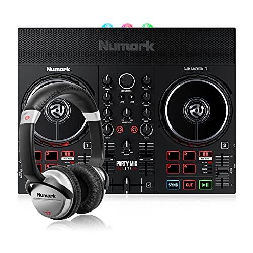 Numark Party Mix Live + HF 125 - Set de DJ, Controlador DJ con luces...