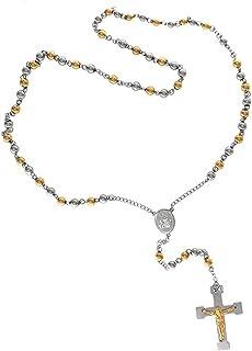7998d32e764e Bling Jewelry Mens Crucifijo Cruz Rosario Collar Chapado en Oro de 26  Pulgadas