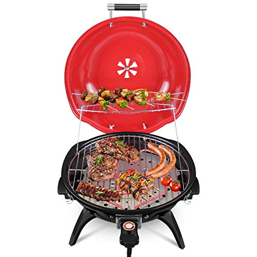 Electric BBQ Grill, Techwood Tabletop Grill For Outdoor & Indoor Use, Nonstick Portable Electric Grill, Easy To Clean Grill ,Fast Heat Grill,1600W