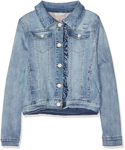 Name IT NOS Mädchen Jacke NKFTEGANI DNM 1158 Jacket NOOS, Blau (Light Blue Denim), (Herstellergröße: 128)