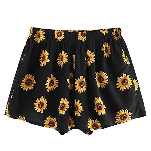 Shorts dames zomer Dasongff meisjes zonnebloem bloemen bedrukt Hot Pants Bohemen hoge taille korte broek strandbroek vrije tijd rok shorts elegant Bohemen Mini hot pants