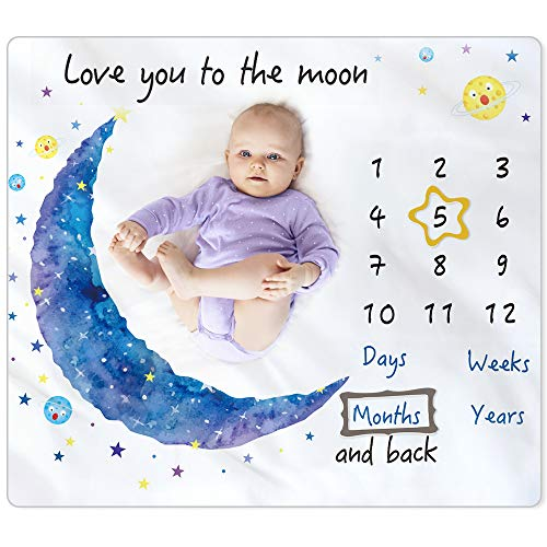 """BAMOMBY Baby Monthly Milestone Blanket,Photo Blanket for Boys Girls Baby Newborn Shower Gifts,Softy Premium Fleece Blanket with Bandana Drool Bib for Baby Pictures Backdrop Photo Prop,Large 50""""x40"""""""