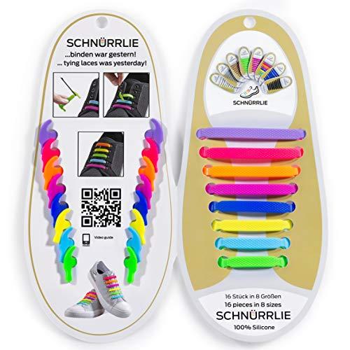 SCHNÜRRLIE Schnürsenkel - elastische Silikon Schnürsenkel - Schuhband ohne Schuhe Binden - Flache Gummi Schnürbänder für Kinder und Erwachsene - Bunt Neon