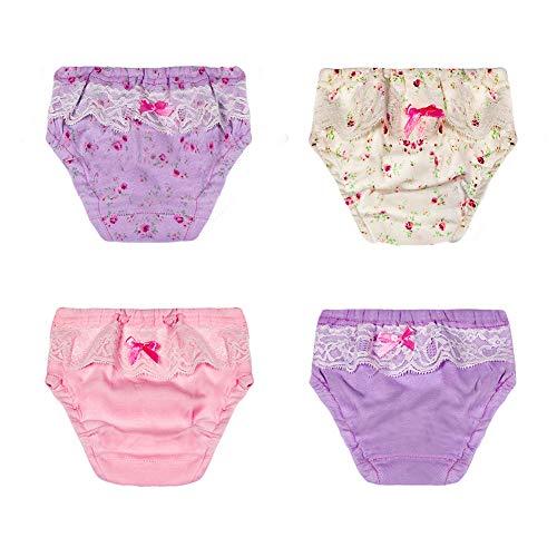 Tancurry 4 Stück Baby Mädchen Baumwolle Soft mit Elegante Spitze Unterhosen (80)