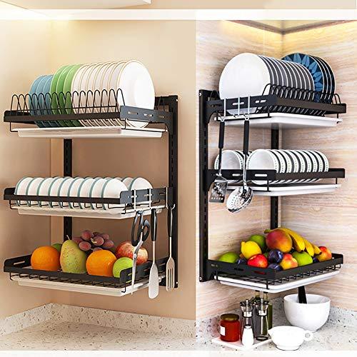 Whifea - Escurreplatos de 3 niveles, cesta de almacenamiento de frutas y verduras de acero inoxidable con escurridor, soporte para cuchillos y cubiertos para organización de cocina, montaje en pared, color negro mate