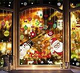 CMTOP Vetrofanie Natale Adesivi Addobbi Natale Rimovibile Adesivi Murali Fai da Te Finestra Stickers Natale Decorazione Natalizi Fiocchi di Neve Inverno Finestra Parete Vetro Specchio