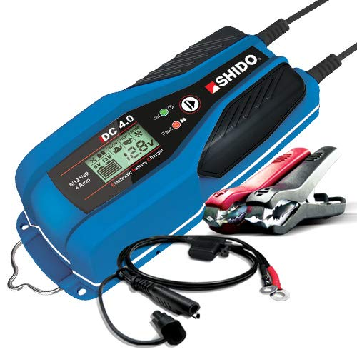 SHIDO Batterie Ladegerät DC 4.0, 6/12V 4A Laden/Erhalten alle Batterietypen
