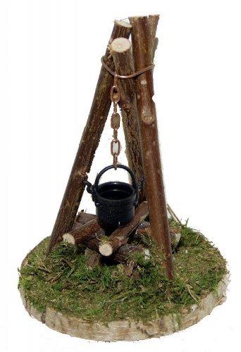 Lagerfeuer Feuerstelle Dreibein mit Beleuchtung für Krippe Weihnachtskrippe Krippenzubehör