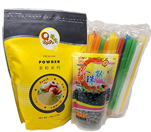 Qbubble Tea Peach Powder 2.2 Pound With 50pcs Bubble (Large) Straw and WuFuYuan - Tapioca Pearl (Black) - Net Wt. 8.8 Oz Packed in Fusion Select Gift Box