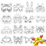 MEZHEN Máscara Blanca para Pintar Mascara Animales Máscaras para Niños Cumpleaños Decoración Fiesta Halloween Navidad 16 Pieza