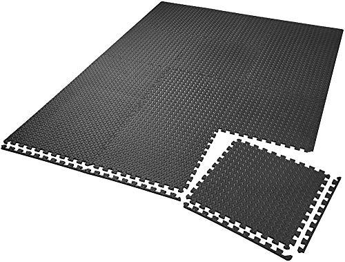 Schutzmatte Set Fitnessmatte | rutschfeste schmutzabweisende | Verbindungssystem für Add-Ons - Verschiedene Mengen und Farben-12x Schwarz | Nr. 402255