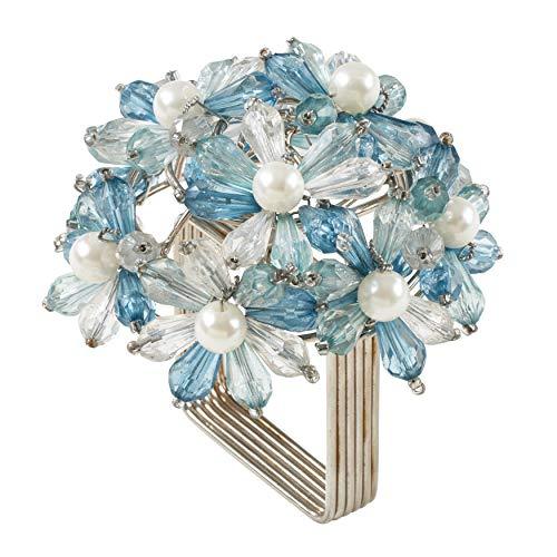 SARO LIFESTYLE NR215 Collection Beaded Floral Napkin Rings (Set of 4), 3' x 3', Aqua