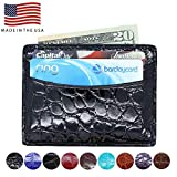 Front Pocket Wallet - Genuine Alligator - American Factory Direct - 5 Pocket Credit Business Card Case - Made in USA by Real Leather Creations Black Glazed ST FBA11