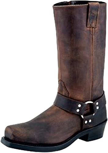 Black Distress Old West Men/'s Harness Leather Square Toe Heavy-Duty Work Boots