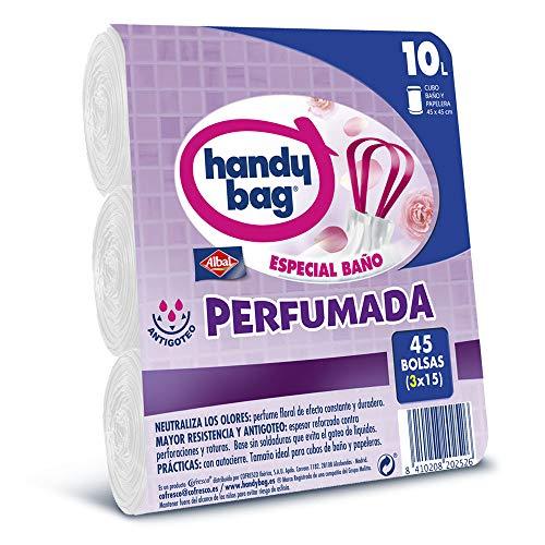Handy Bag Bolsas de Basura 10L Baño , Extra Resistentes, Perfumadas, 45 Bolsas