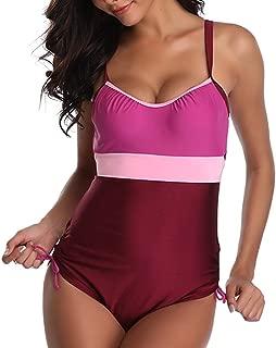 Century Star Retro Women One Piece Swimsuit Plus Size Push Up Ties Side Bathing Suit Tummy Control Bandege Swimwear