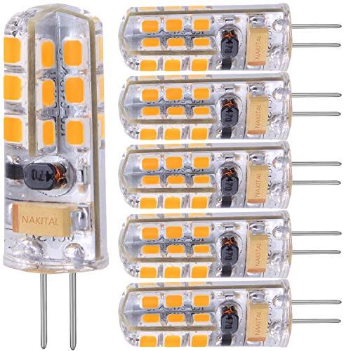 G4 LED Bulb Warm White 4W Replacement 40W Halogen Bulbs, 350 Lumens 3000K,LED G4 Bulb Warm White Light Bulbs 12V AC/DC Not Dimmable/6 Pack