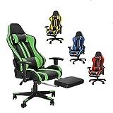 Soontrans Gaming Stuhl Racing Bürostuhl Ergonomischer Chefsessel Gamer Stuhl Drehstuhl PC Stuhl mit Fußstützen, Höhenverstellbare Armlehne, 150 kg Belastbarkeit (Grün)